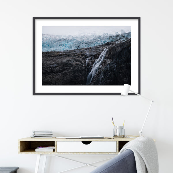 Waterfall and Glacier in Norway | Wall Art Print by Jan Erik Waider
