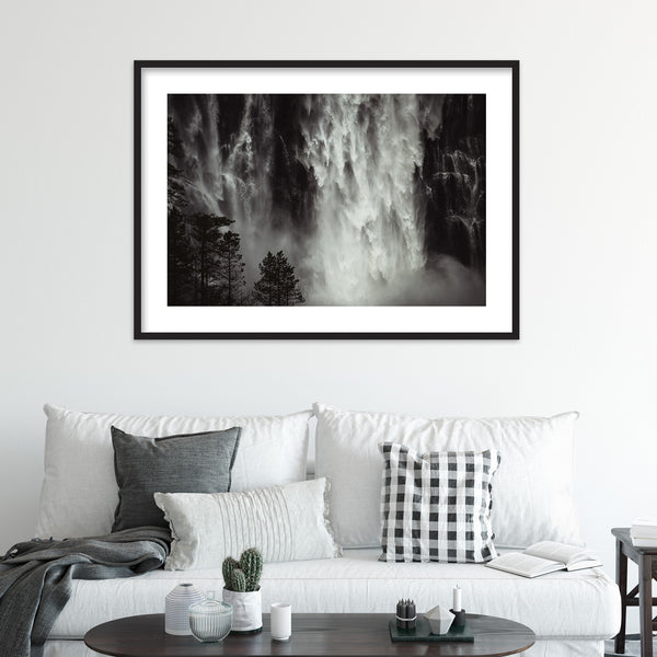 Powerful Waterfall in Moody Weather | Wall Art Print by Jan Erik Waider