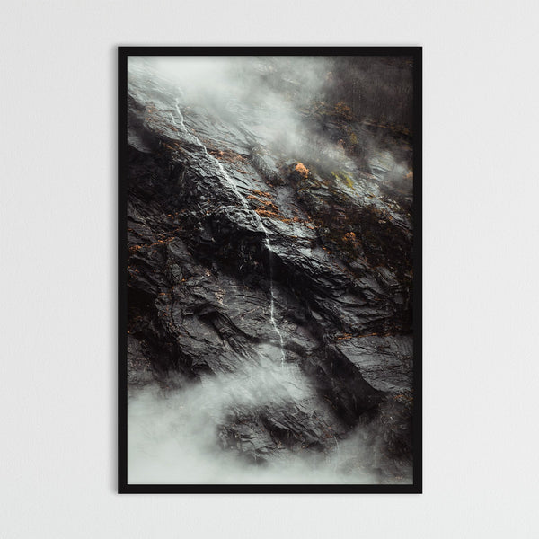 Waterfall between Clouds in Autumn Weather | Photography Print by Northlandscapes