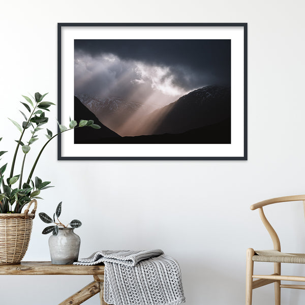Sun Breaking through Clouds in Scotland | Wall Art Print by Jan Erik Waider