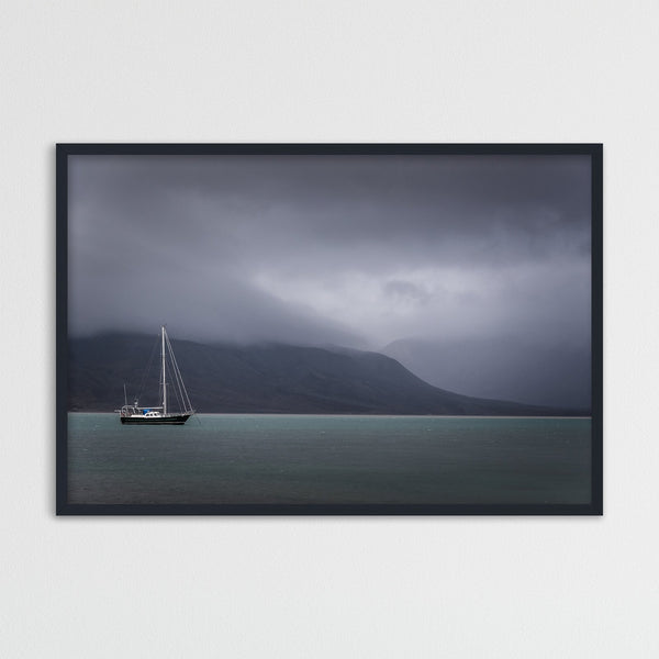 Small Sailboat and Dark Clouds | Photography Print by Northlandscapes