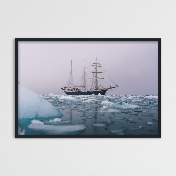 Classic Sailing Ship in the Arctic Waters of Svalbard | Photography Print by Northlandscapes