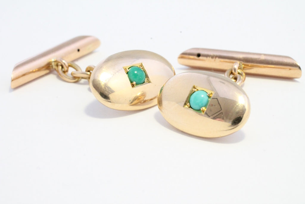 15 carat rose gold cuff links with turquoise stones-Cuff links-The Antique Ring Shop, Amsterdam