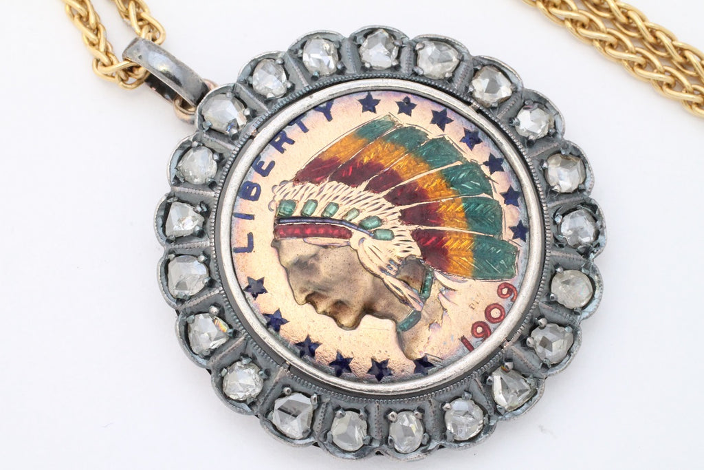 Antique Native American coin pendant with rose diamonds from 1909-Pendants-The Antique Ring Shop, Amsterdam