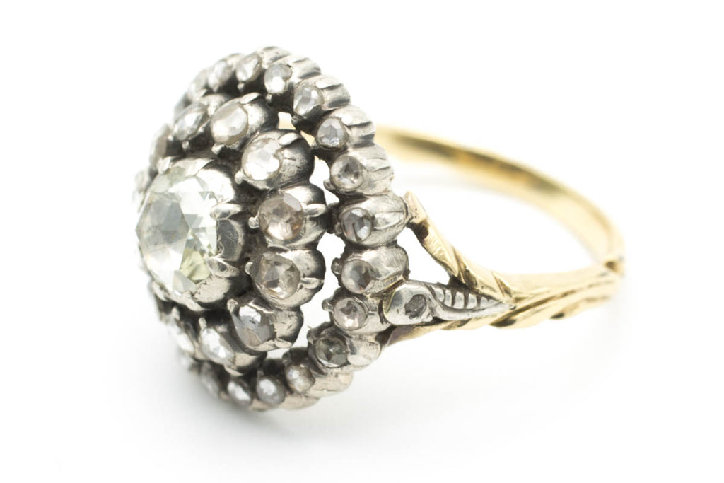 Rose diamond cluster ring in silver and gold-Antique rings-The Antique Ring Shop, Amsterdam