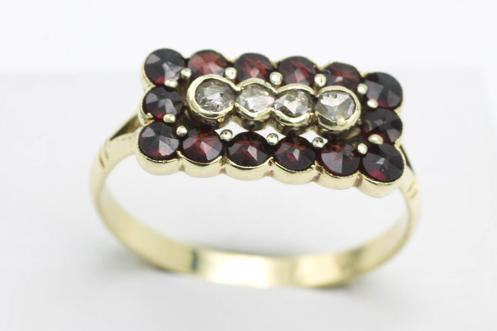 Vintage Dutch garnet and rose diamond gold ring-Vintage & retro rings-The Antique Ring Shop, Amsterdam