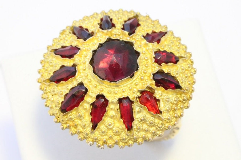 Garnet sun burst ring in 14 carat gold-Vintage & retro rings-The Antique Ring Shop, Amsterdam