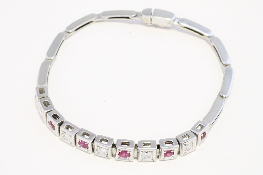 Ruby and diamond bracelet in white gold-Bracelets-The Antique Ring Shop, Amsterdam