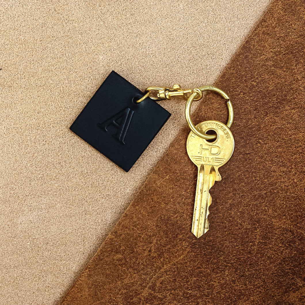 Leather Embossed Initial Keychain