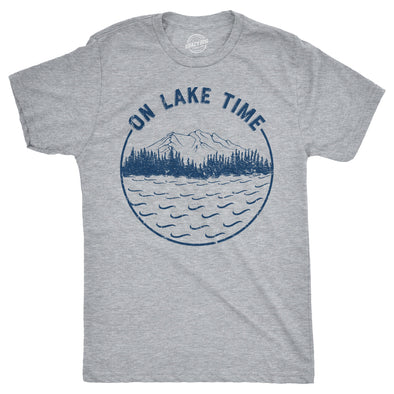 Mens On Lake Time Tshirt Cool Outdoor Camping Tee For Guys