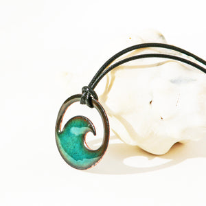 Transparent Seagreen Enamel Wave Necklace - Seaside Harmony Jewelry