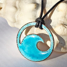 Load image into Gallery viewer, Aqua Blue Enamel Wave Necklace - Seaside Harmony Jewelry