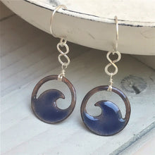 Load image into Gallery viewer, transparent royal blue mini wave eternity earrings seaside harmony