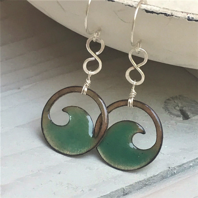 transparent seagreen enamel mini wave eternity earrings seaside harmony
