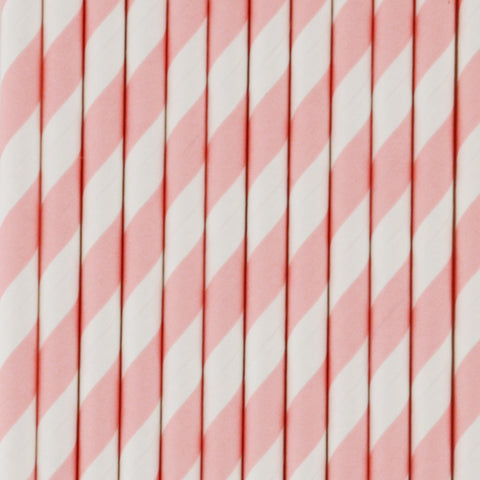 25 straws - Light pink stripes