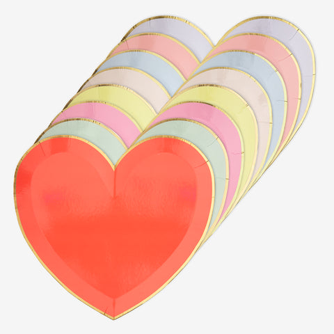 Set of 8 heart plates - Pastel