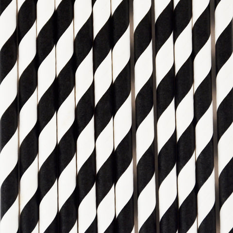 25 straws - Black stripes