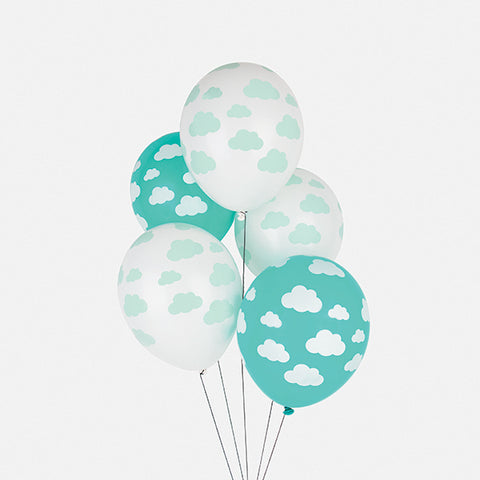 5 printed balloons - Clouds