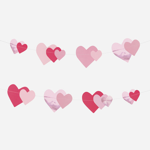 Foil and paper garland - Pink hearts