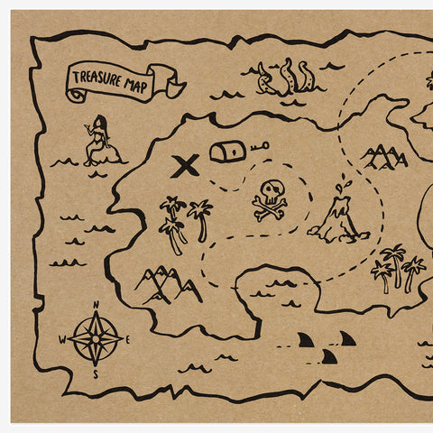 30 Paper placemats - Treasure map - Kraft