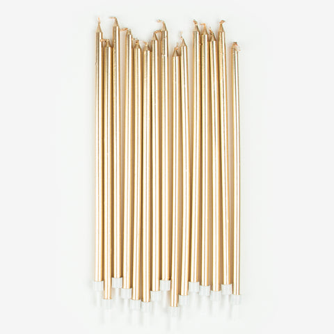 16 long candles - Gold
