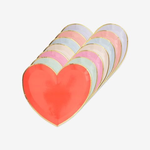 Set of 8 small heart-shaped plates - Pastel