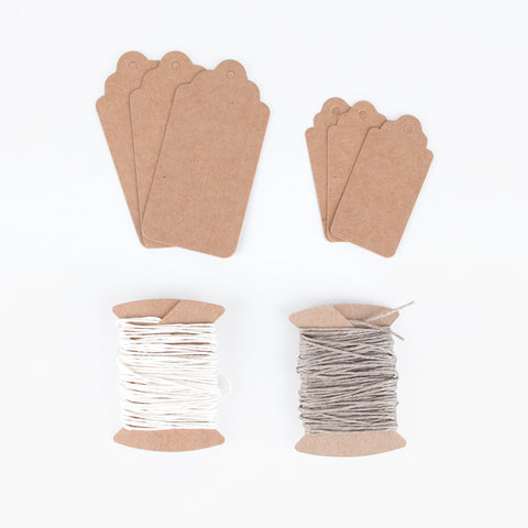 Kraft gift tags with twine