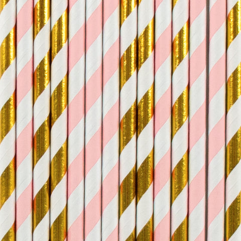 25 straws - Light pink and gold stripes