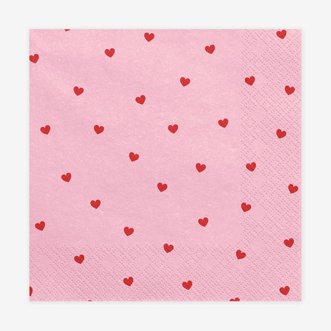 20 pink napkins - Red hearts