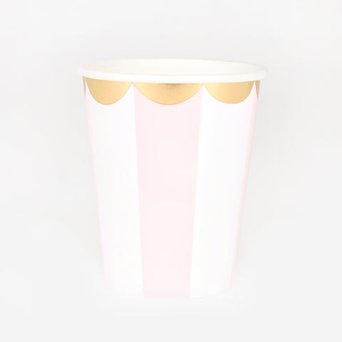 8 cups - Dusty pink stripes