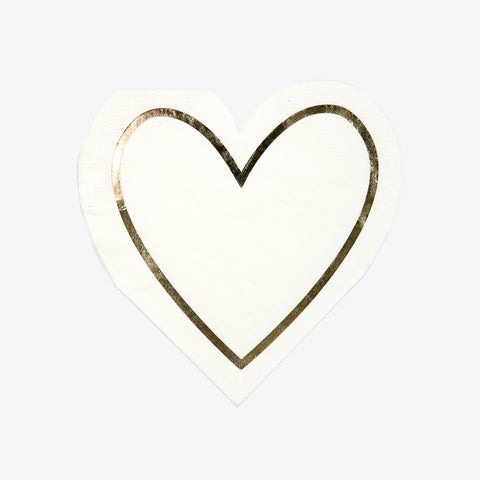 16 small napkins - White and gold heart