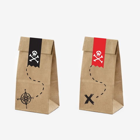 Set of 6 paper bags - Kraft and stickers - Pirates