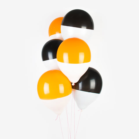 6 balloons two-toned - black and orange