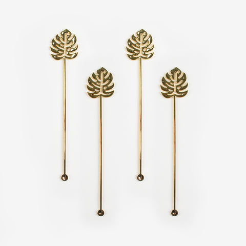 12 drink stirrers - Tropical leaf