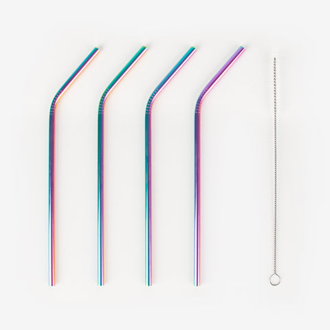 4 reusable metal straws - iridescent