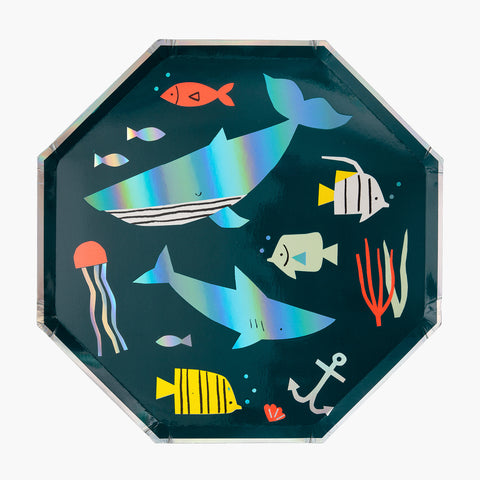 8 large plates - Under the Sea