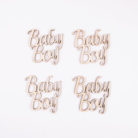 4 wooden decorations - Baby boy