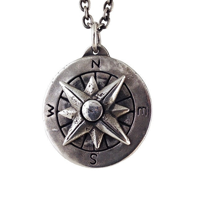 Custom Designer Compass Necklace in Sterling Silver by Dax Savage Jewelry.