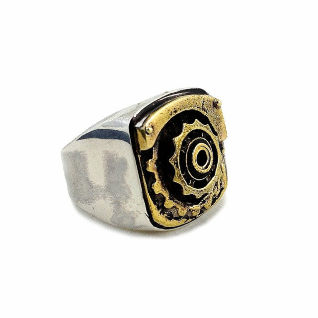 Custom Gear Signet Ring in Brass and Sterling Silver by Dax Savage Jewelry.