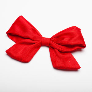 "Bright Red Nubby Silk 5"" Large Kate Bow"