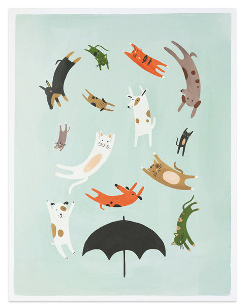 raining cats and dogs art print - www.mignonshop.com