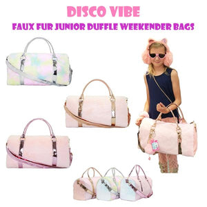 Disco Vibe Faux Fur Junior Duffle Weekender Bags