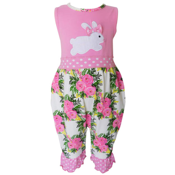 Girls Boutique Easter Floral Bunny Romper