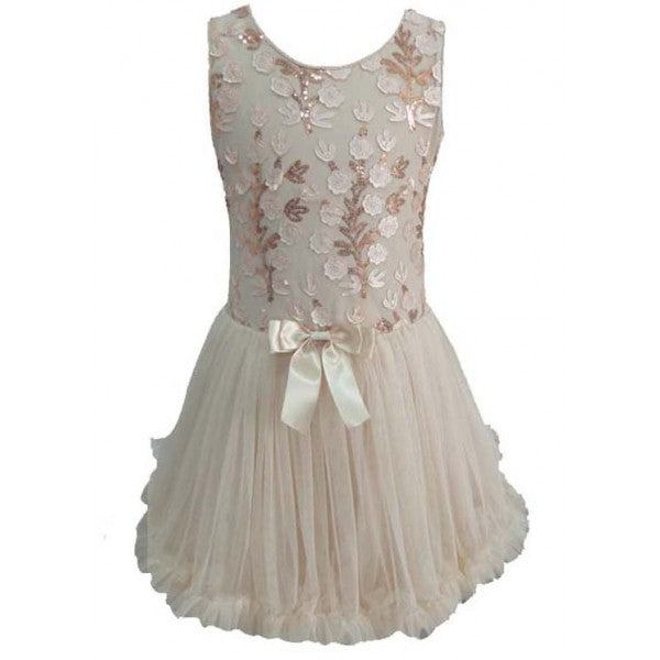 Ivory/Gold Sequin Flower Petti Dress