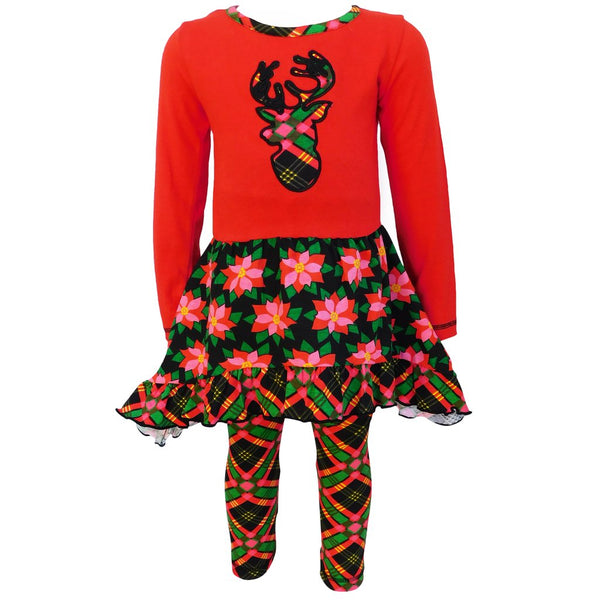 Christmas Red and Black Poinsetta & Plaid Dress Outfit Set