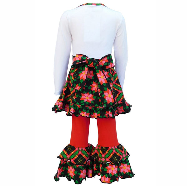 White Jersey Plaid Christmas Tree and Skirt with Red Leggings