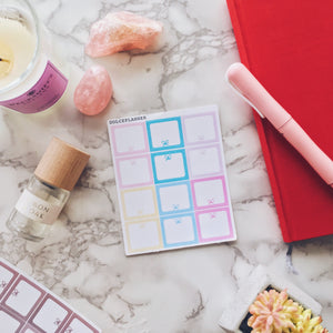 Hobonichi Weeks Plain and Bows Boxes Planner Stickers