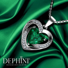 Load image into Gallery viewer, DEPHINI Aqua Heart Necklace - 925 Sterling Silver Heart Pendant Embellished with CZ Crystal