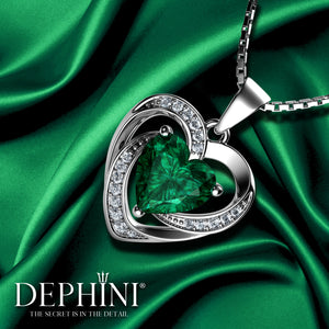 DEPHINI Aqua Heart Necklace - 925 Sterling Silver Heart Pendant Embellished with CZ Crystal