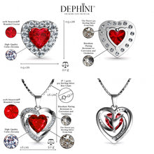 Load image into Gallery viewer, DEPHINI Red Heart Necklace & Heart Earrings SET - 925 Sterling Silver with CZ Crystals